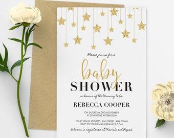 Twinkle Twinkle Little Star Baby Shower Invitation Gender Neutral Baby Shower Invitations White Gold #23-02
