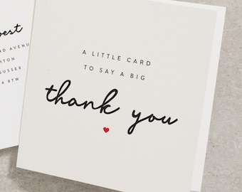 Simple Thank You Card, Little Card To Say A Big Thank You, Supportive Card For Friend, Sister, Mum, Dad, Best Friend Thank You Card TY002