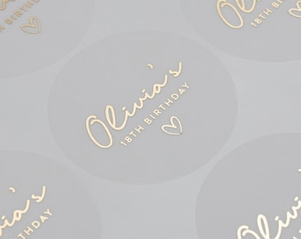 Personalised Birthday Stickers, Any Age, Any Name, Foiled Stickers For Birthday Party, Party Bag labels, Birthday Stickers, 51mm ST064