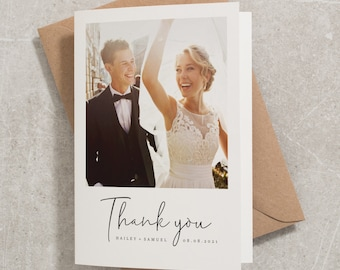 Thank You Cards, Wedding Thank You Cards, Folded Thank You Card, Simple Wedding Thank You Cards, Wedding Thank You Card With Photo