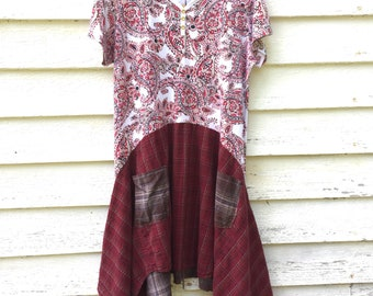 XL  / 1X Upcycled Women's Tunic Top.