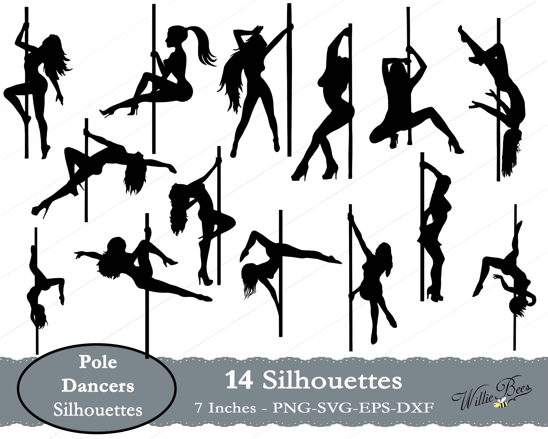 Pole Dancers Svg Silhouette Clip Art Female Strippers Pole  Etsy-1945