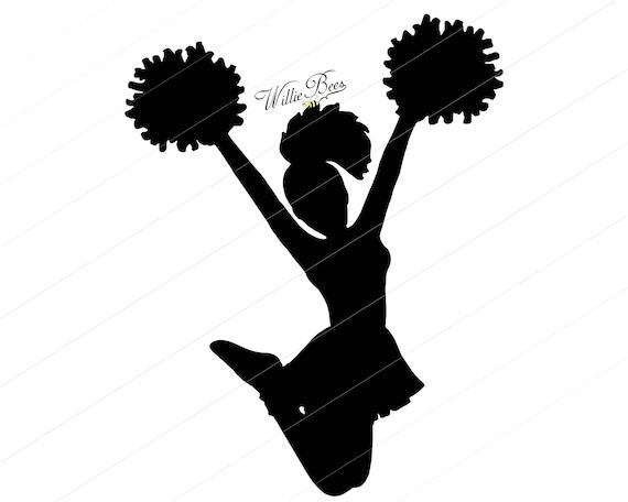 cheerleader svg silhouette clipart cheerleader girl jumping etsy