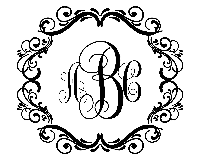 flourish circle monogram frame  monogram frame svg  motif