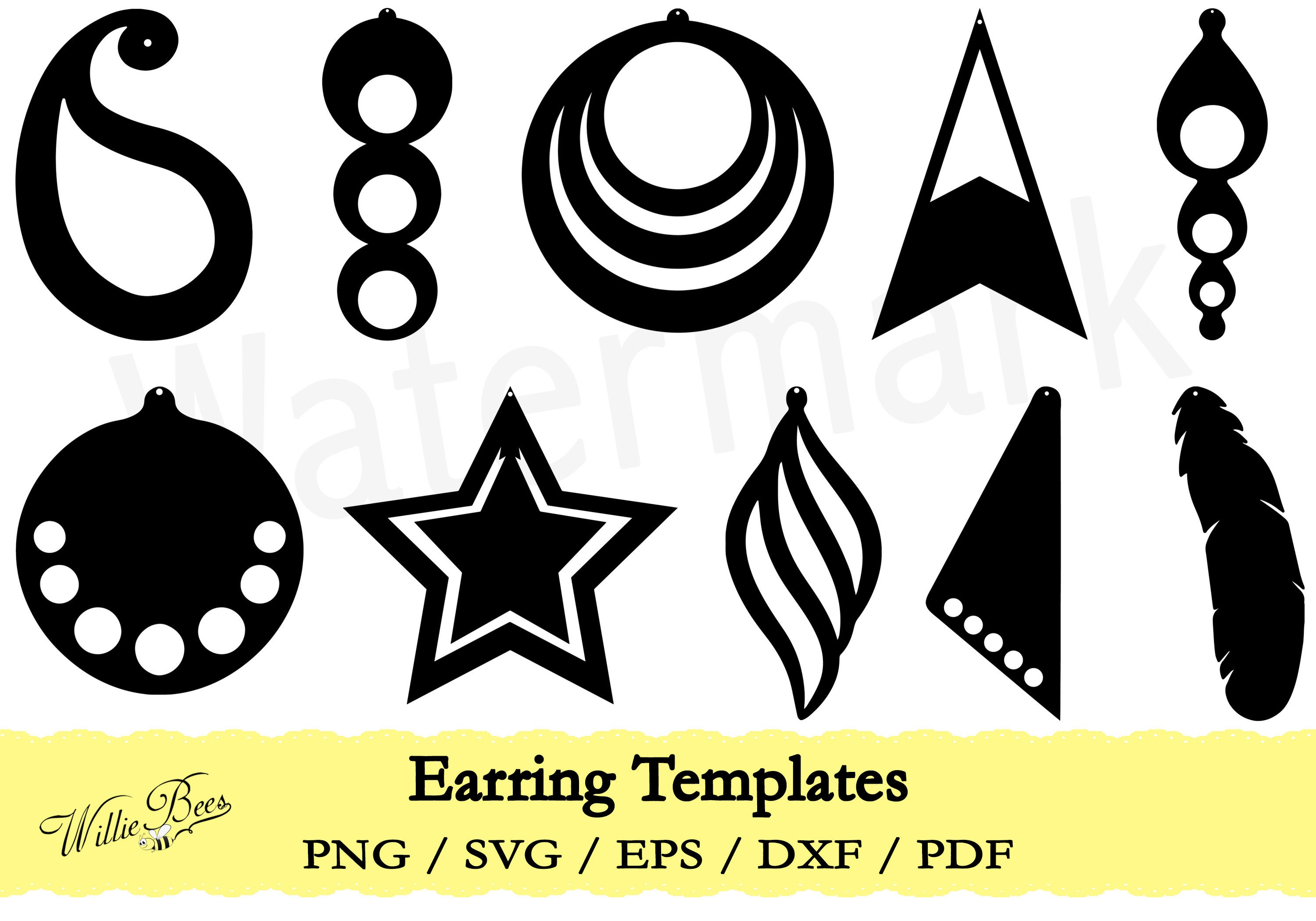 Feather Earring Template Svg Earring Template Cut File Etsy