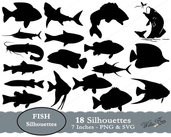 Fish Svg Fish Silhouette Svg Gills And Fins Underwater Etsy