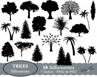 Tree SVG, Tree Silhouette Clip Art, Pine Tree, Palm Tree SVG, Tree Image, Tree Branch, Tree Trunk, Perennial Plant, Leaves, Instant Download