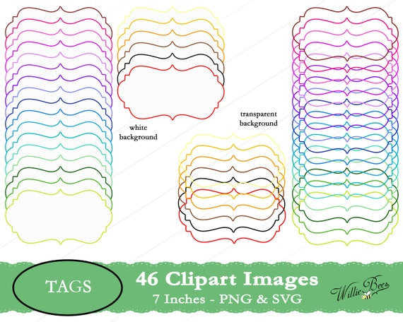 Digital Frame Clipart Images Frames Colourful 7 Inches Etsy