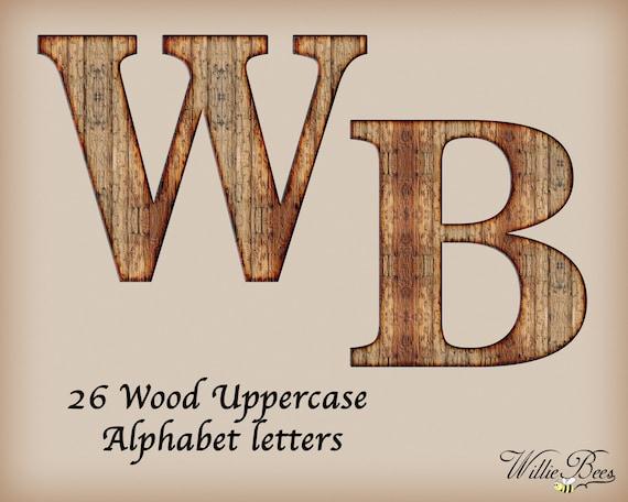 Brun Bois Alphabet Majuscule Capitale Clip Art Lettres A Z 26