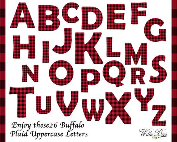 Red Buffalo Plaid Uppercase Alphabet Clip Art 26 Letters