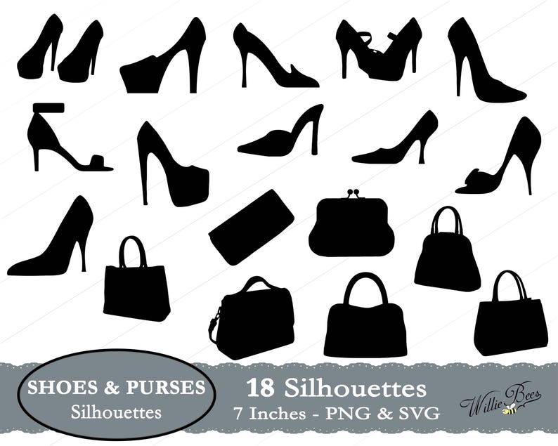 08567916cb200 Purse SVG, Shoe SVG, Purses and Shoes, Handbags, High Heels, Shoe Clipart,  Purse Clipart, Evening Clutch, Shoulder Bag, Instant Download