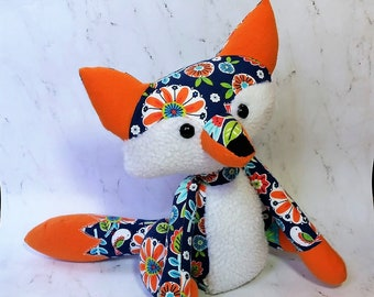 Stuffed animal fox, fox plush, blue and orange floral fox, Woodland nursery, Fox toy, Fox Friend, Forest Animal Plush, Baby Shower Gift