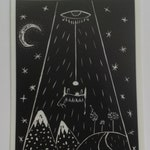UFO Beaming up Cow Sticker, alien abduction, black and white monochrome extra terrestrial martian sticker, science fiction vinyl stickers