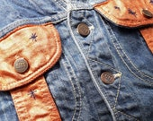 Reclaimed vtg denim jacket vest with hand embroidery copper metallic embellishments, wearable art unique one off sustainable fashion stars