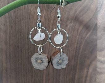 Antler and Rose quartz dangling hoops