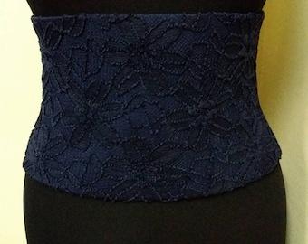 Dark blue lace belt/ Belt for women/Elastic waist belt for women/ Plus size belt/ Handmade belt/Belt corset/Belt that tightens the waist