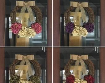 CUSTOM Wreath, Front Door Wreath, Hydrangea Wreath, Front Door Decor, Rustic Wreath, Wreath, Spring Wreath, Summer Wreath, Burlap Wreath