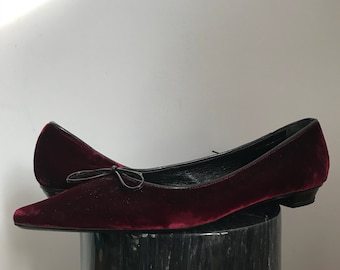 BROWNS COUTURE 39 9 Red Velvet Bow Flats Mocassin Leather Italy Doll Classic Heel Shoe Open