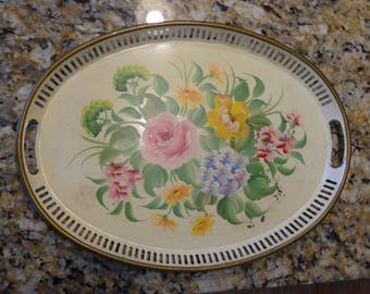 Tin Serving Tray, Vintage Pilgrim Art Toleware, Hand Painted Floral Tin, Pink, Blue, Yellow Flowers