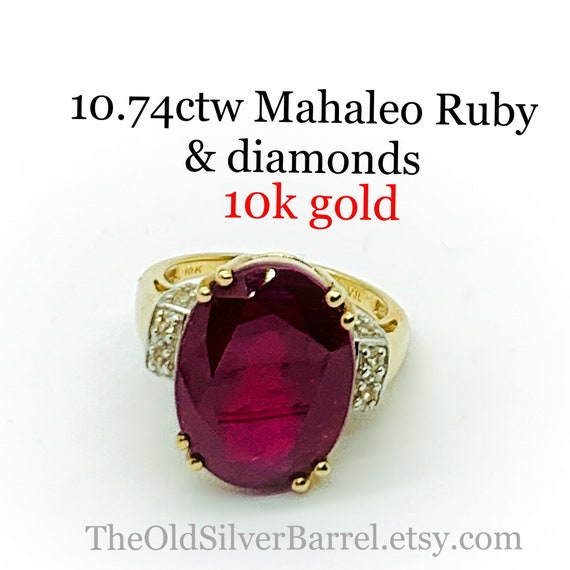 10.74ctw Mahaleo ruby ring, 10k ruby diamond ring,