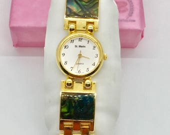 """Gold abalone shell watch, white faced watch, St. marin watch, 7.5"""" long, gold link watch, gold plated, round watch, gift for her, TheOSB"""