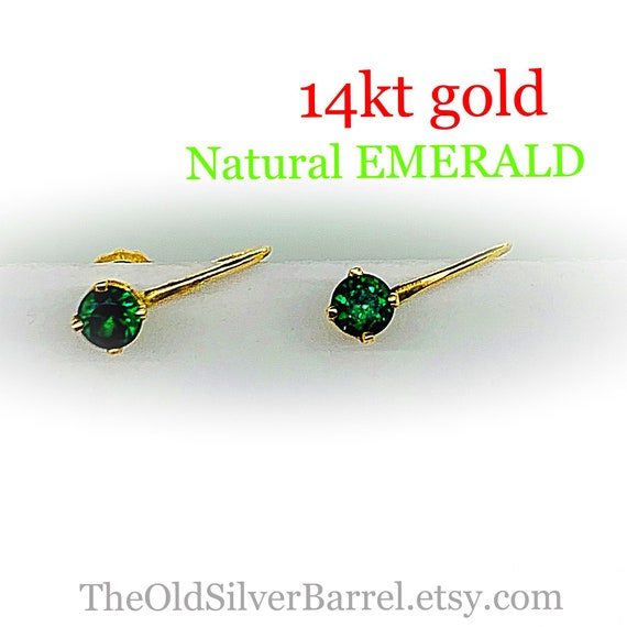 14kt emerald earrings, 14k natural emerald earring