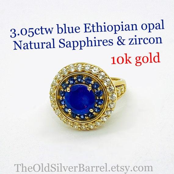3.05ctw Blue Ethiopian Opal ring, 10k blue opal ha