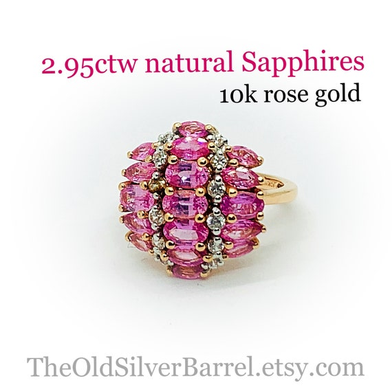 2.95ctw pink sapphire cluster ring, 10k rose gold
