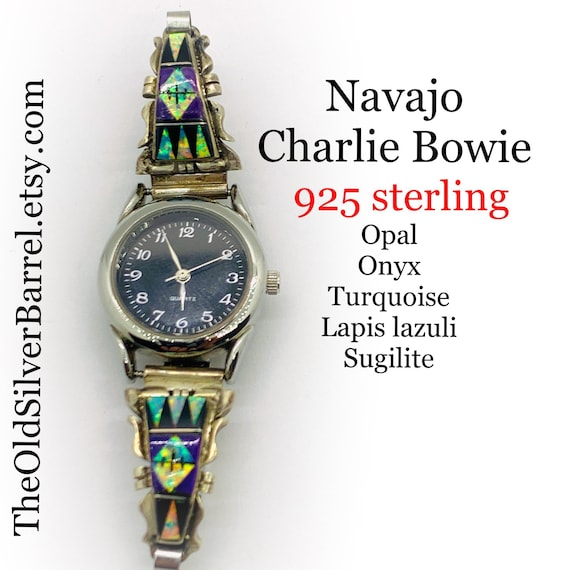 Navajo sterling watch, opal watch tips, Charlie Bo