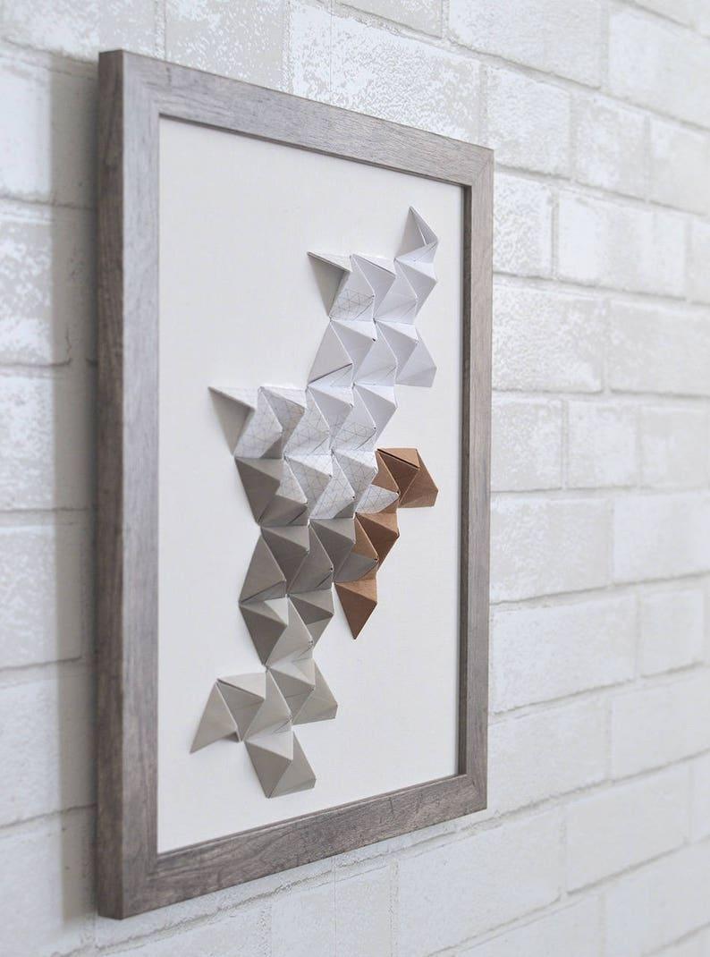 White paper sculpture minimalist wall art 3D paper art modern art grid paper home decor /& brown 11x14 origami wall art gray