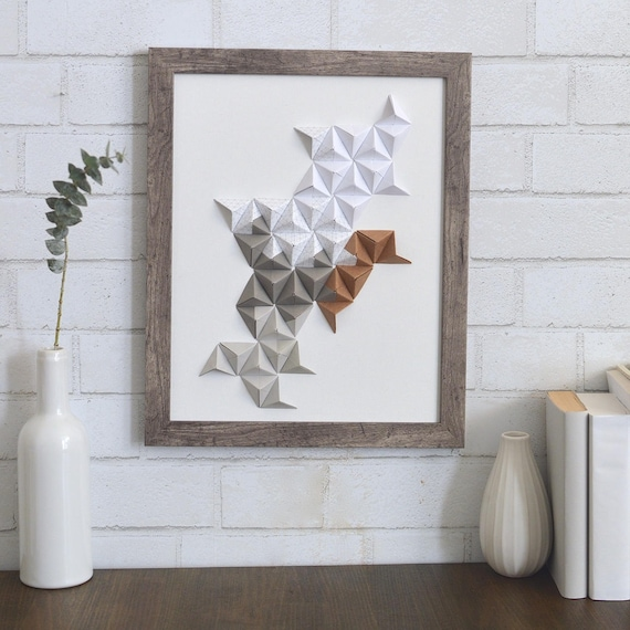 home decor gray /& white 11x14 origami wall art Turquoise paper sculpture 3D paper art tan brown modern wall art mint green