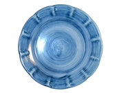 Vietri Hand Made Mediterranean Blue Plain Side Plate. Made in Italy.