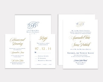 Personalized Elegant Monogram Wedding Invitation