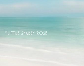 Florida Coastal Beach House Wall Decor, Beach Art, Pastel Blue Abstract Ocean Decor, Large Beach Print, Anna Maria Island Bean Point Photo