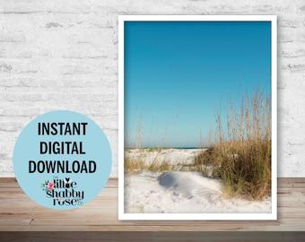 Instant Digital Download of Anna Maria Island Beach Photography, Dreamy Beach Decor, Sunny Beach Art, Blue White Coastal Cottage Wall Decor