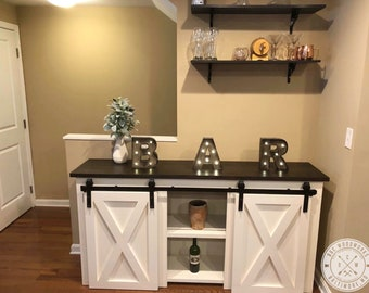 LOCAL DELIVERY Farmhouse Style Barn Door Console TV Stand Sideboard Buffet Local Delivery Only