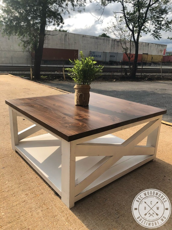 Brilliant Free Shipping Farmhouse Style Square Coffee Table Pabps2019 Chair Design Images Pabps2019Com