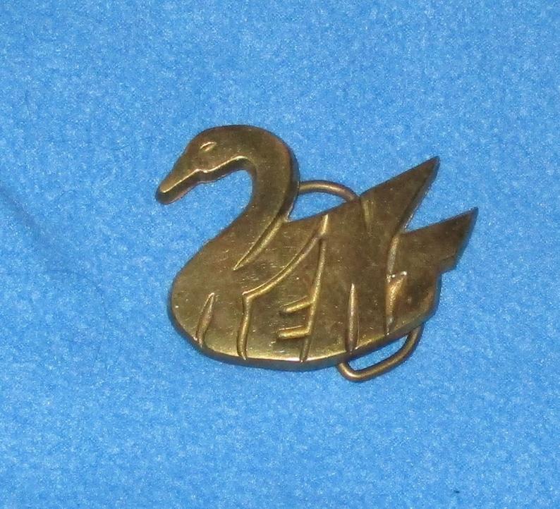 Vintage 1980/'s SOLID BRASS KENT Swan Shape Name Belt Buckle Country Hipster Kent