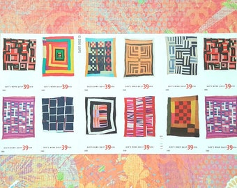 Twenty 20 Quilts Of Gees Bend Unused 39 Cent Postage Stamps Full Double Sided Booklet Pane American Treasures Mint 2006 Winter Sewing