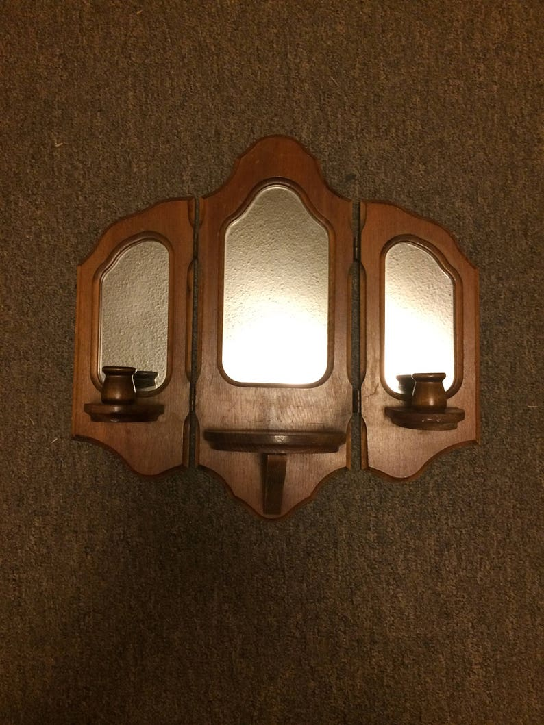 """2 Vintage Candle Wall Sconce Wall Hanging Candle Holder Wood /& Metal 18/"""" Long"""