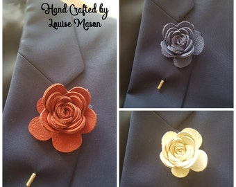 REAL LEATHER Rose Flower lapel pin boutonniere hat pin - Mens or Ladies