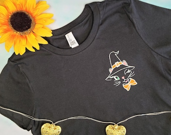 Vintage Halloween Cat Embroidered Tee   Unisex and Women's Styles   Halloween Shirt   Trick or Treat Shirt   Vintage Halloween Shirt