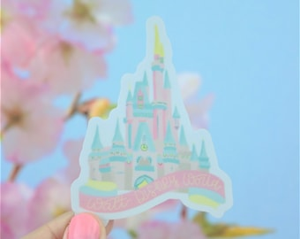 "3"" Magic Kingdom Cinderella Castle Vinyl Sticker   Hydroflask Water Bottle Sticker   Bullet Journal Planner Sticker   Waterproof Decal"