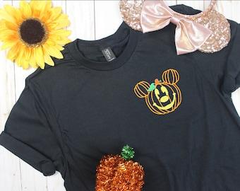 Pumpkin Mickey Decor Embroidered Tee   Unisex and Women's Styles   Halloween Shirt   Disney Trip Shirt   Trick or Treat Shirt