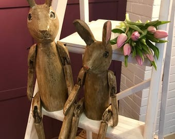 Wooden Hares, Articulated Puppet, wooden doll,  wooden puppet, wooden gift, mad hare