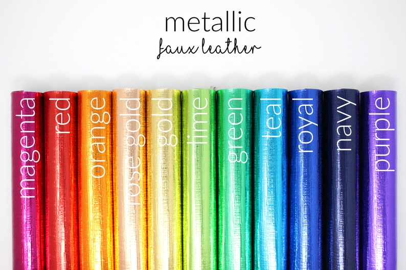 Orange Metallic Faux Leather Sheets Faux Leather Fabric Sheets Colorful Leather Fabric Bundle Leather Sheets Orange