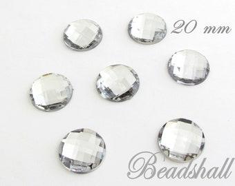 1720 10 Stück Glas Cabochons 20x20mm Klar Viereck Quadrat Klebestein