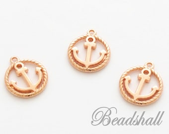 2 Pendant Anchor in Ring DQ Quality Rose Gold Charms