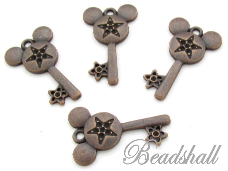 10 Metal Pendant Key Charms Copper Colored Mouse