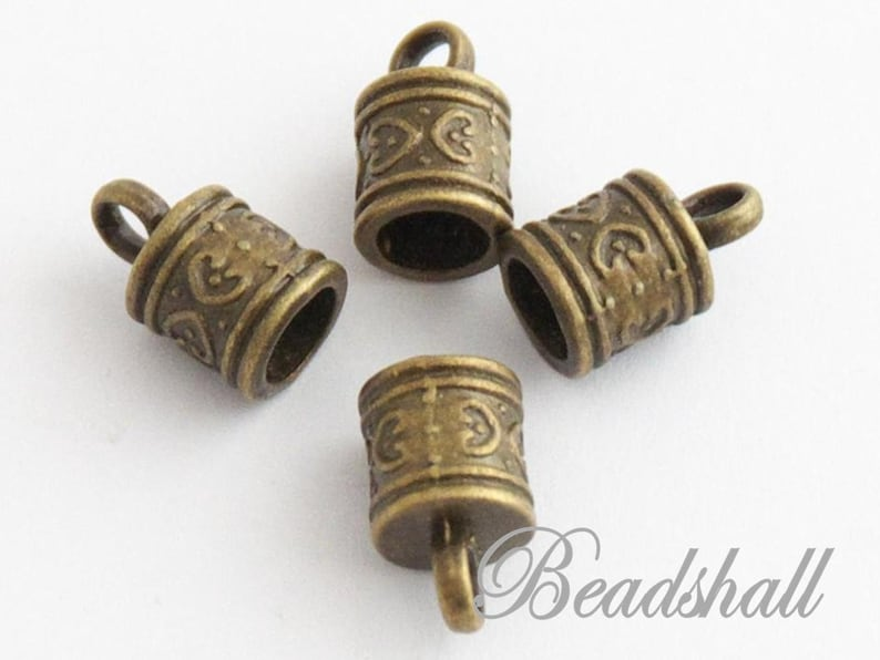 10 end caps antique look bronze colored band end caps decorated
